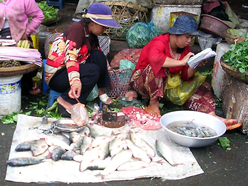 Fiskemarked i Cambodja