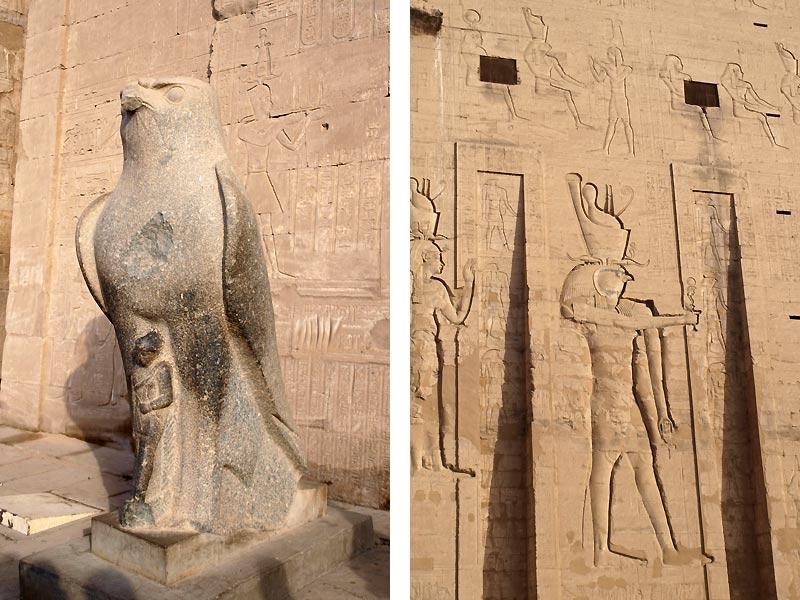 Billeder af Horus i Horus-templet i Egypten