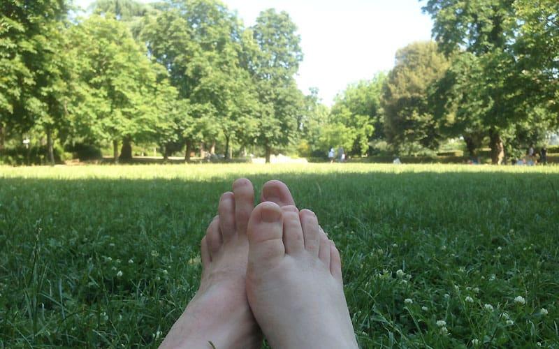Hold pauser i en park