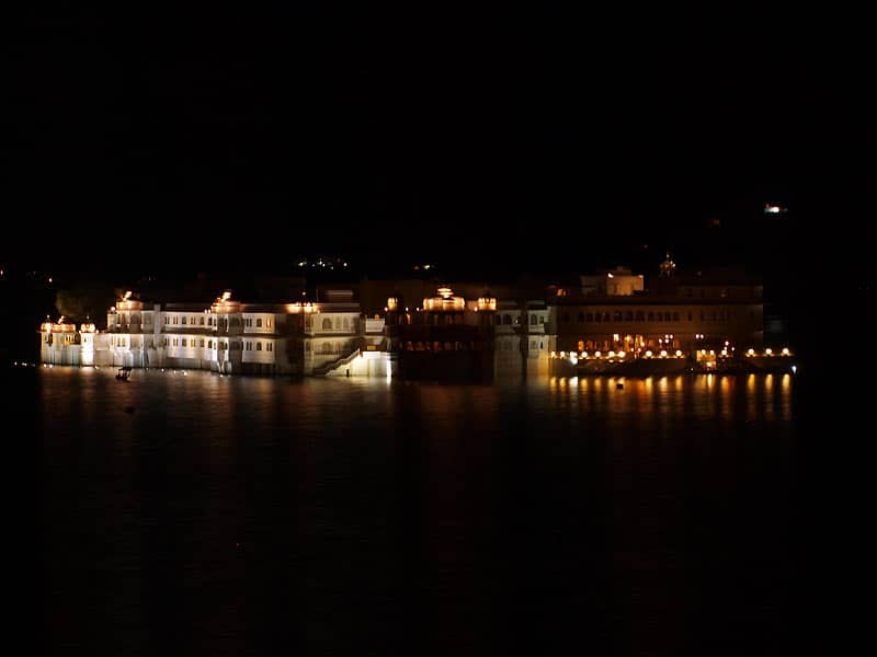 Nat ved Lake Palace i Udaipur