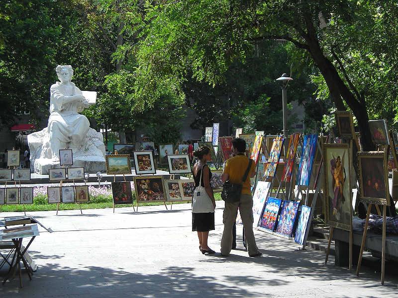 Kunstmarked i Yerevan i Østeuropa