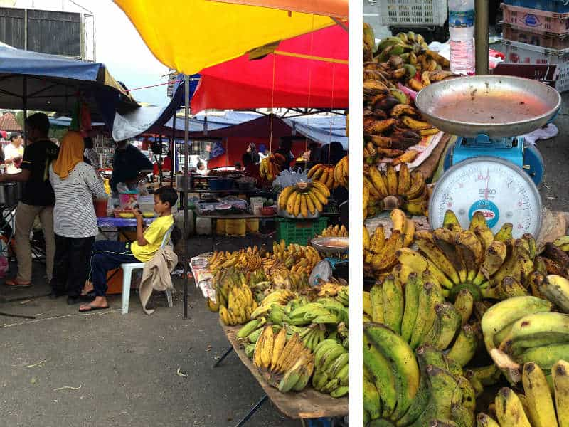 Det lokale frugtmarked i Tanah Rata i Cameron Highlands i Malaysia