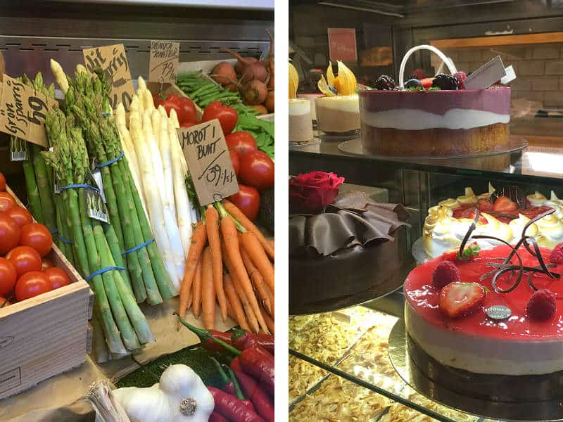 Friske grøntsager og kager i Stora Saluhallen i Gøteborg