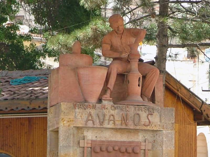 Skulptur af pottemager i Avanos i Kappadokien - Globetrotters.dk