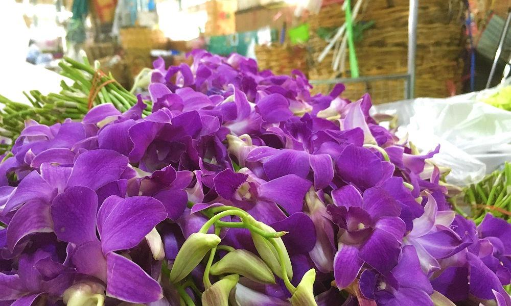 Pak Khlong Talat blomstermarked i Bangkok