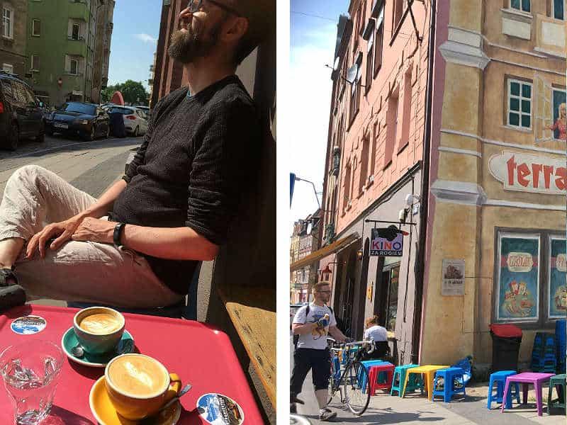 Kaffehygge og gadeliv i Srodka i Poznan