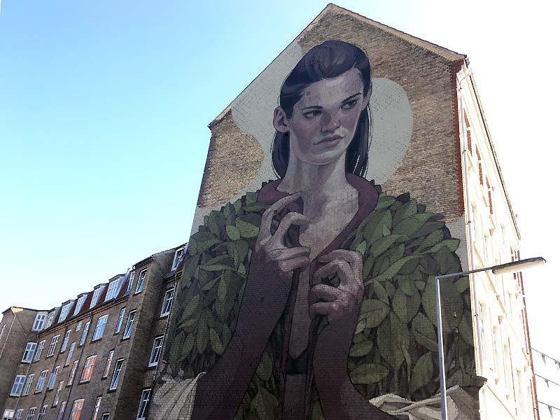Street art af Aryz på Lindholmssti i Aalborg