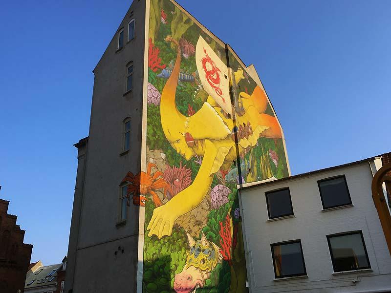 Cool street art i Danmarksgade i Aalborg