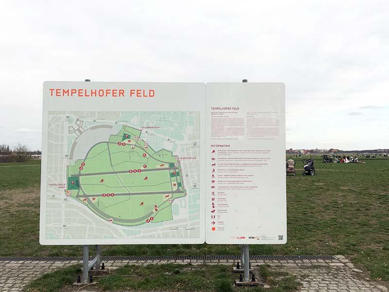 Kort over parken ved Tempelhof