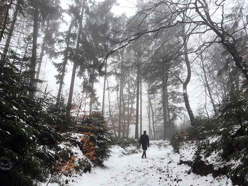Kenneth Karl Nielsen på vej opad det danske bjerg Sukkertoppen