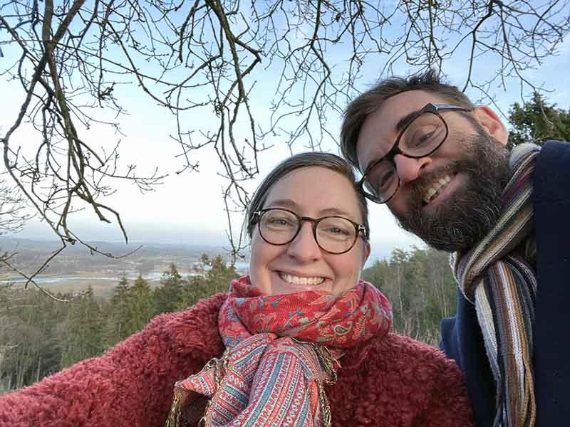 Maria Erica Jensen og Kenneth Karl Nielsen på toppen af Sukkertoppen i Midtjylland